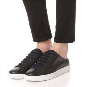 Vince Varley Black Leather Lace-Up Slip On Sneaker